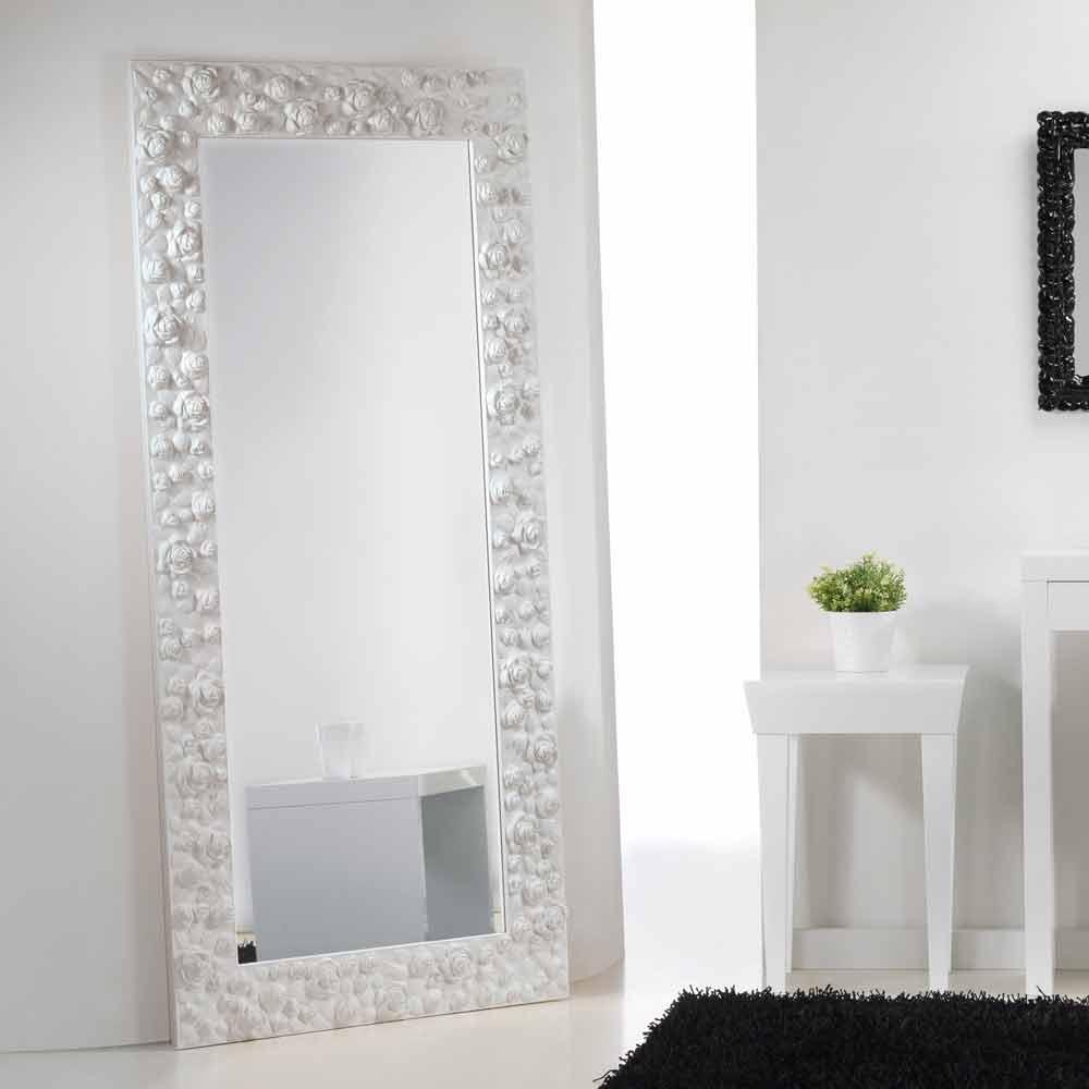 Große Weiße Spiegel Boden / Wand Mit Holzrahmen Blume