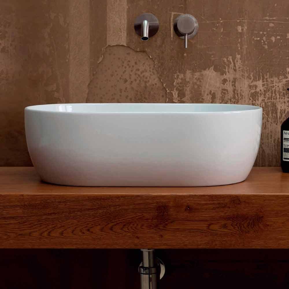 aufsatzwaschbecken aus wei er bunter keramik star 55x35 made in italy. Black Bedroom Furniture Sets. Home Design Ideas