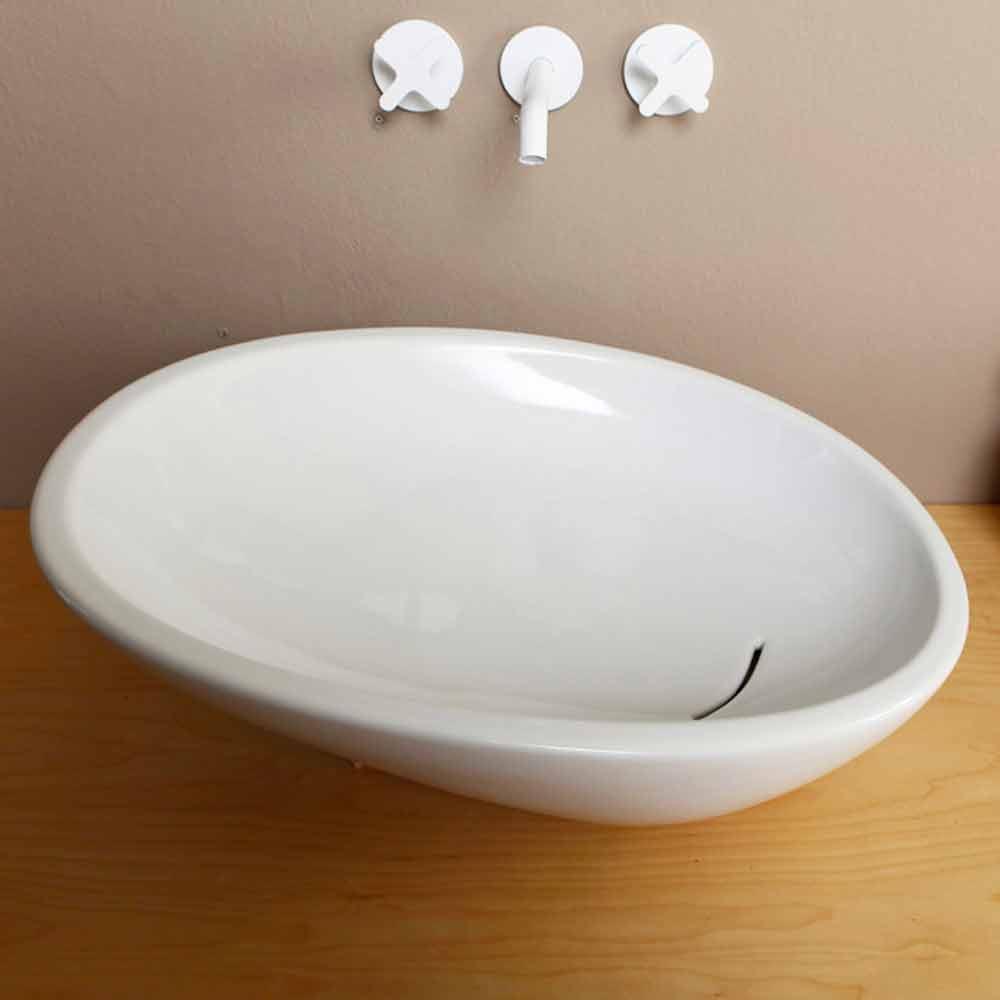 geneigtes aufsatzwaschbecken design keramik made in italy glossy. Black Bedroom Furniture Sets. Home Design Ideas