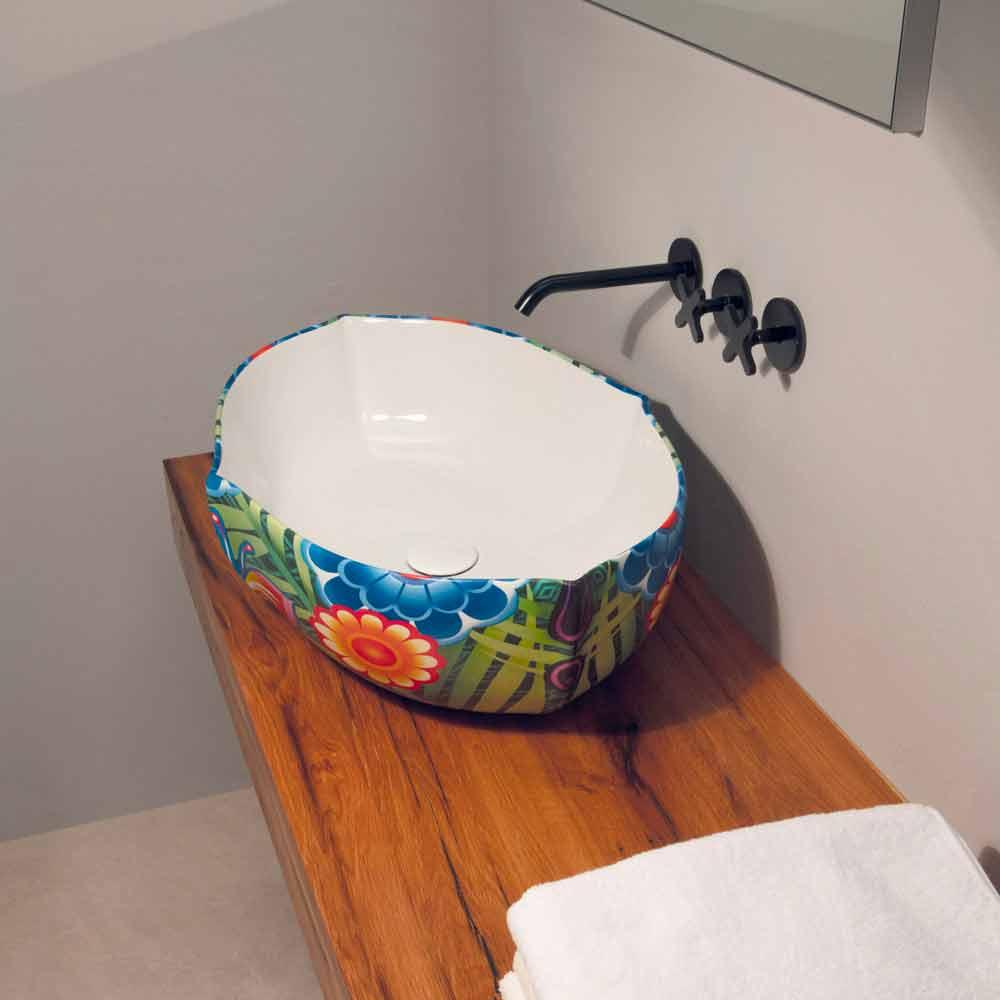 aufsatzwaschbecken aus gezeichneter keramik made in italy oscar design. Black Bedroom Furniture Sets. Home Design Ideas
