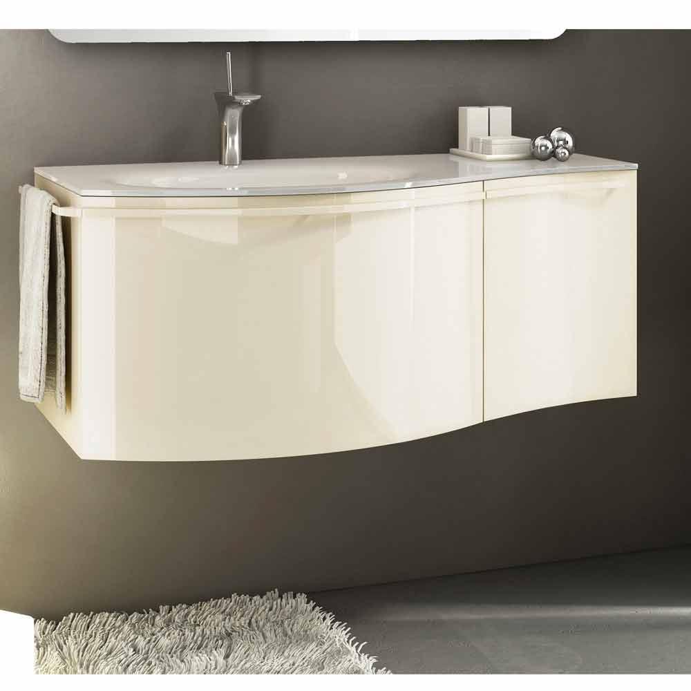 Moderner Hangeschrank Mit Waschbecken In Beige Lackiertem Holz Gioia 1