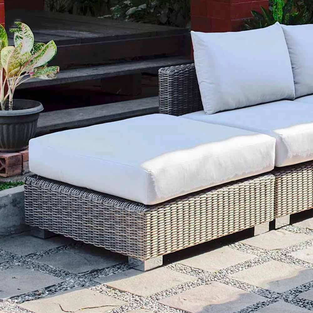 Polyrattan Garten Sitzhocker taubengrau Jaco handmade