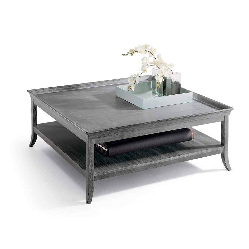 couchtisch aus lackiertem silbernem holz 130x130 cm. Black Bedroom Furniture Sets. Home Design Ideas