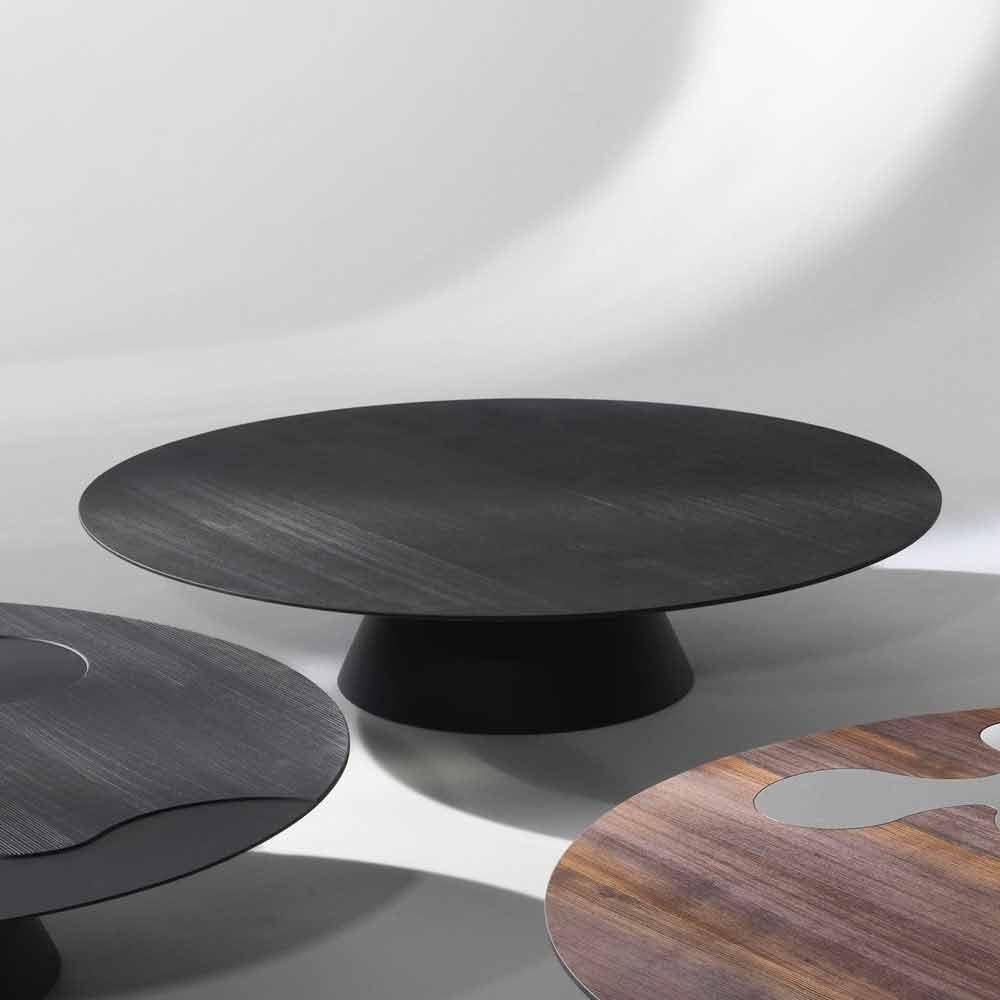 Moderner design couchtisch aus l rchenholz mit schwarz for Moderne couchtische