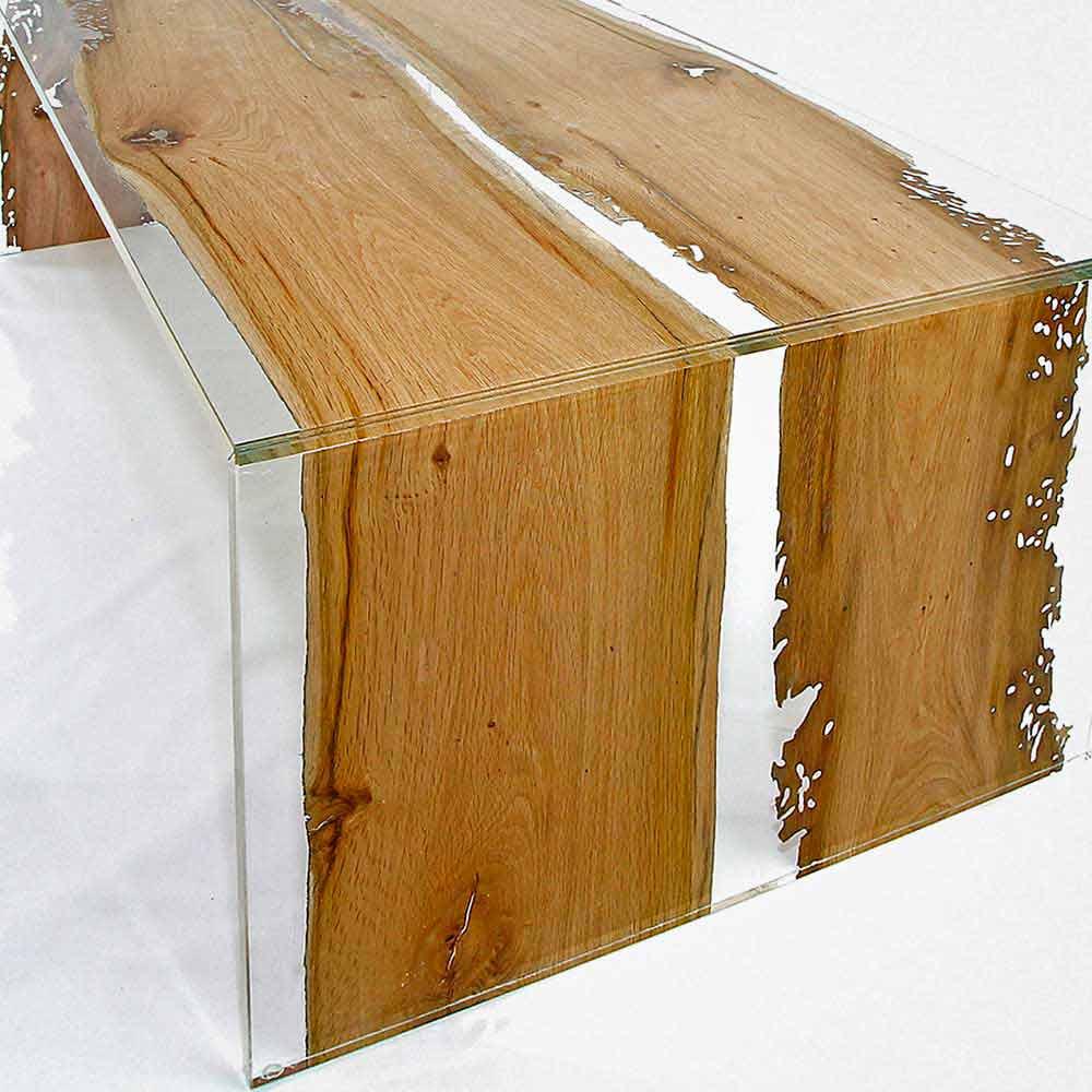 couchtisch rechteckig aus glas und briccola holz aus venedig giudecca. Black Bedroom Furniture Sets. Home Design Ideas