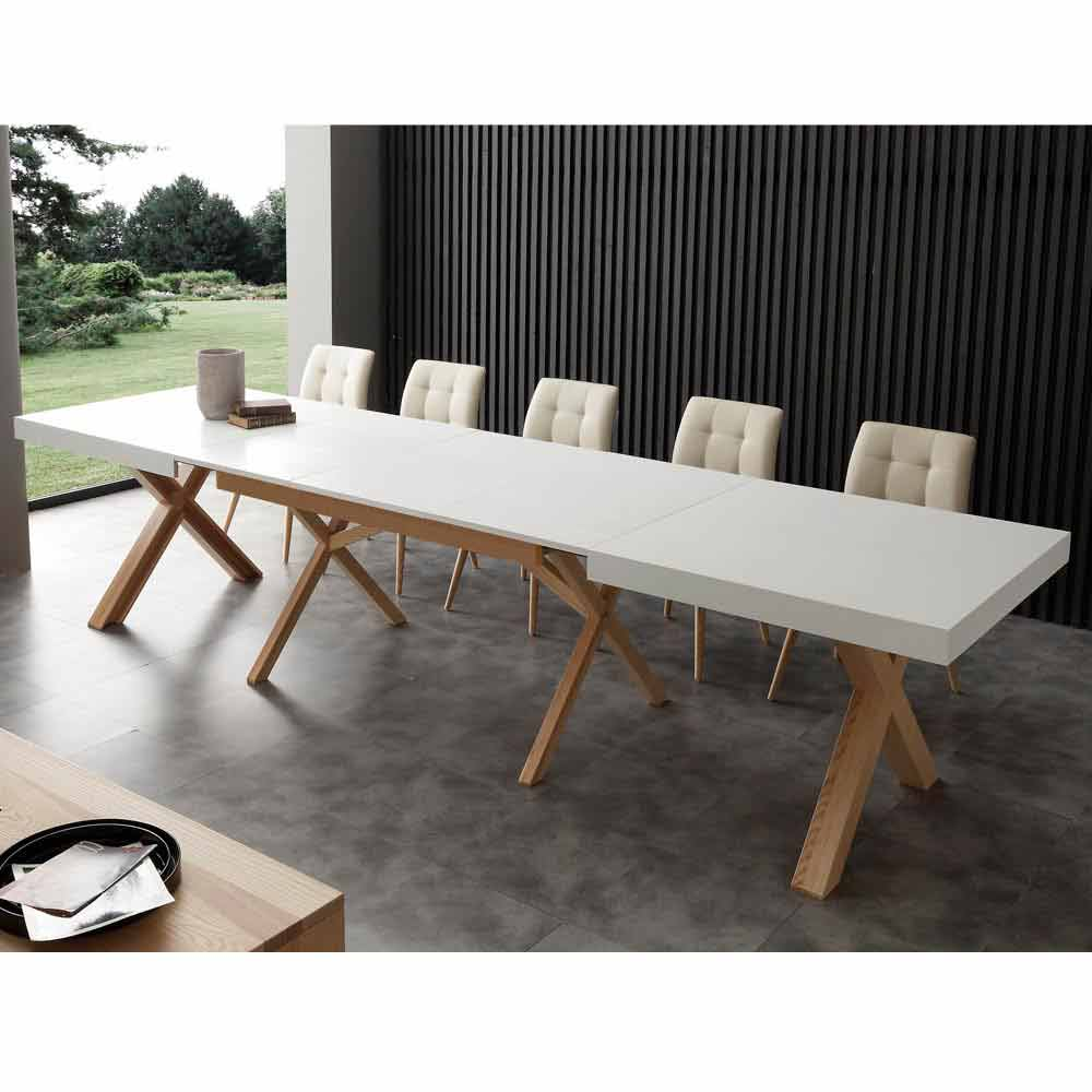 Ausziehbarer tisch aus massivholz rico for Ausziehbarer tisch