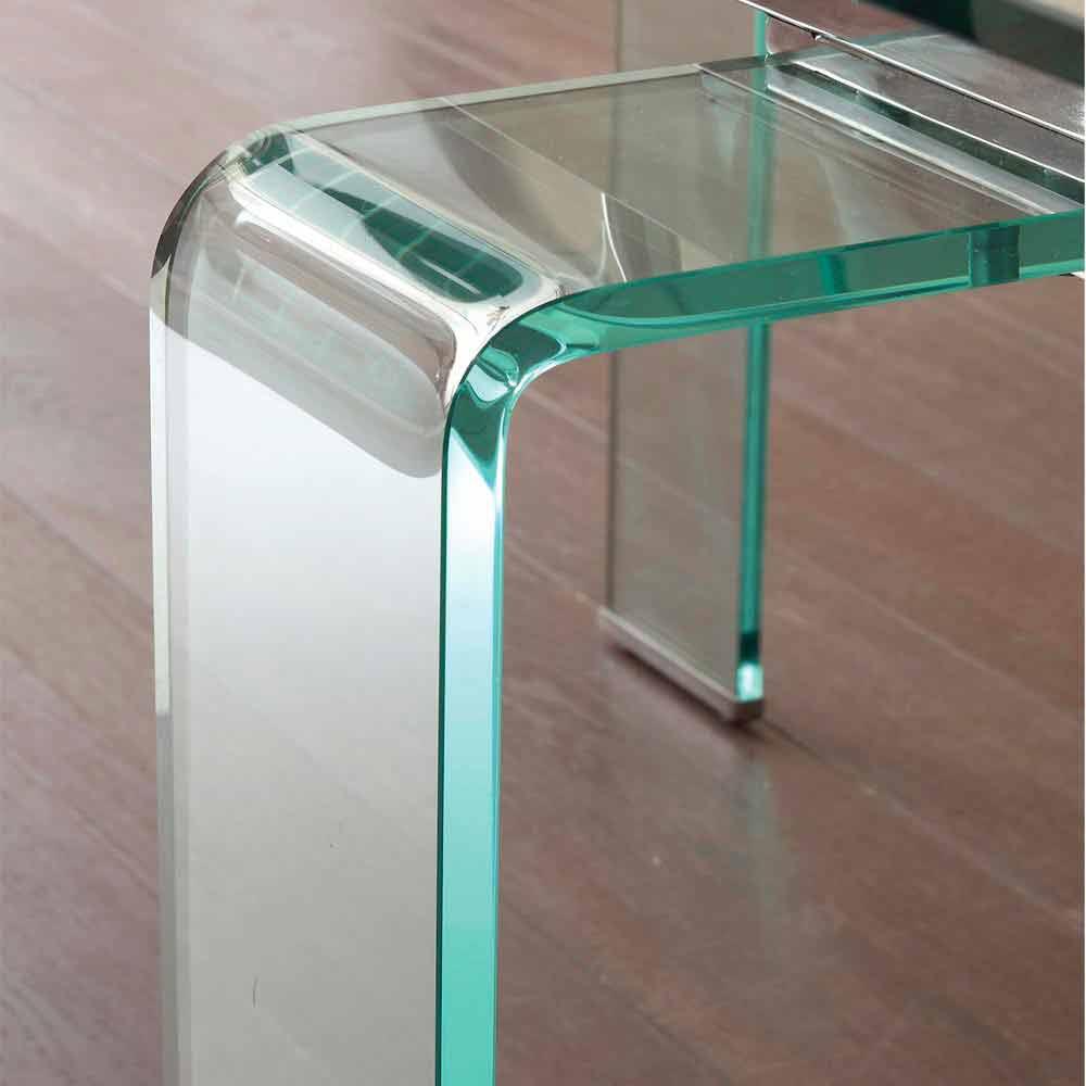Tisch mit hartglas tischplatte ausziehbar in modernem for Tischplatte design