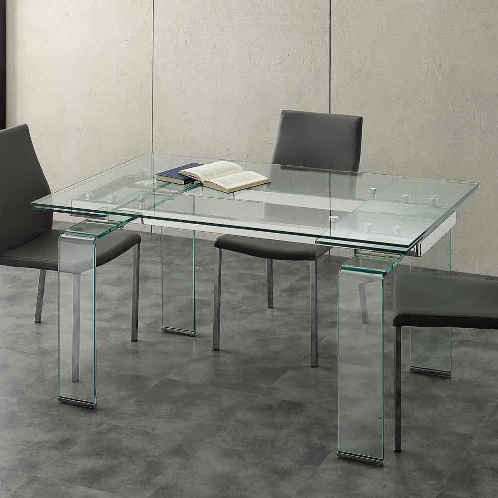 Tisch mit hartglas tischplatte ausziehbar in modernem for Tisch design ausziehbar