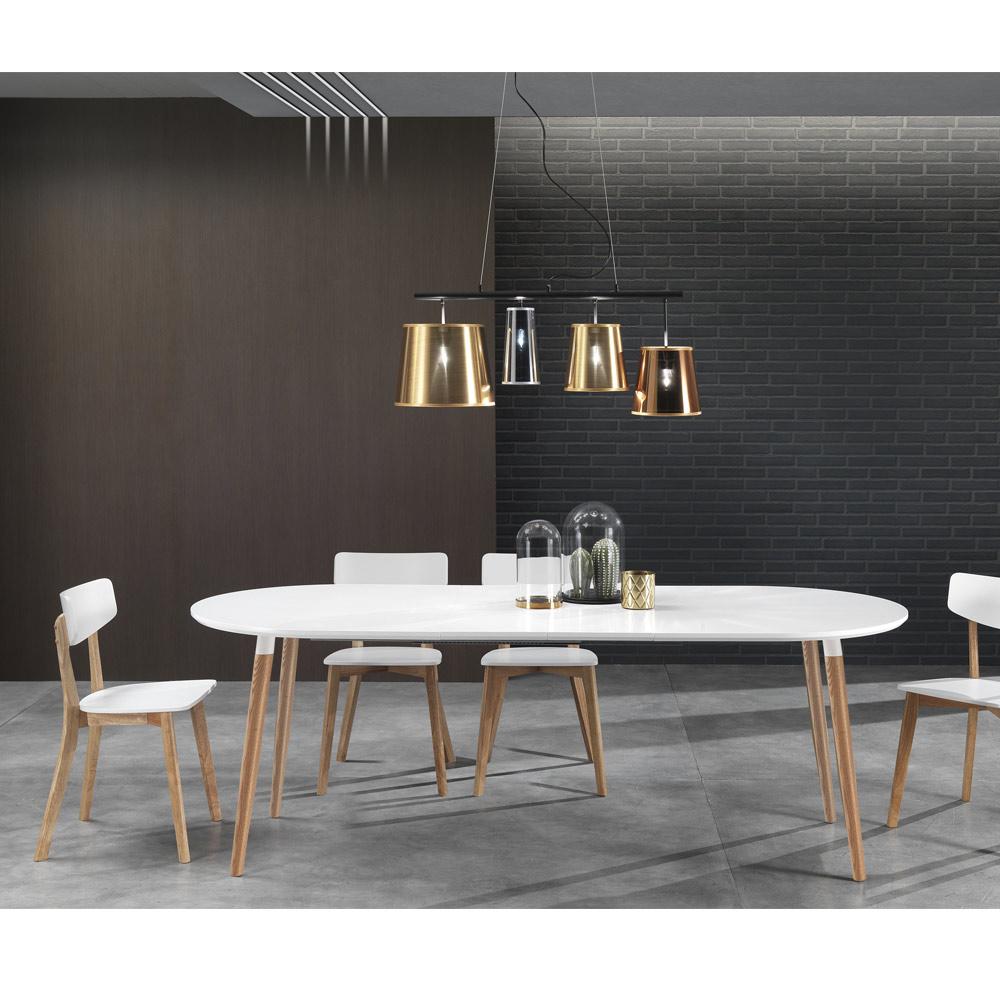 verl ngerbarer holztisch mit matt wei er tischplatte ian. Black Bedroom Furniture Sets. Home Design Ideas