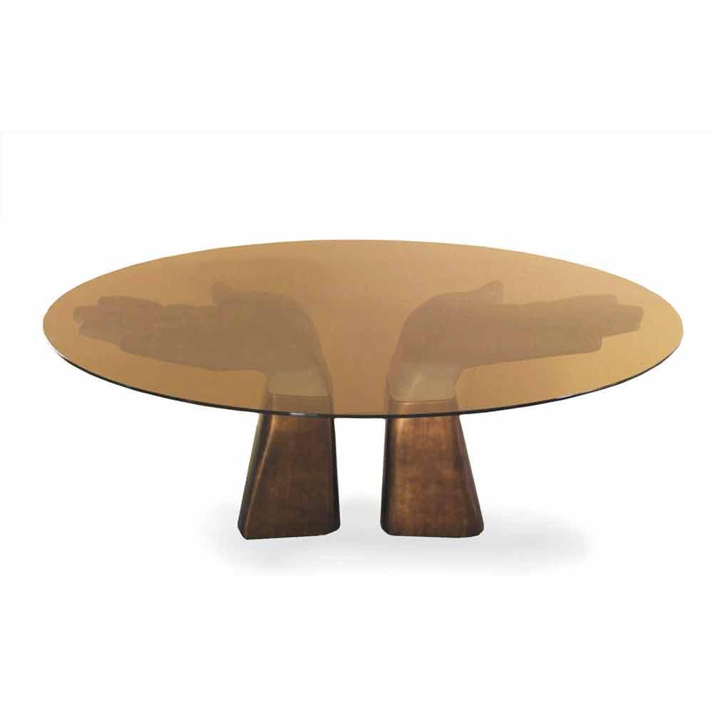 Esstisch aus holz mit tischplatte aus glas made in italy for Esstisch italian design