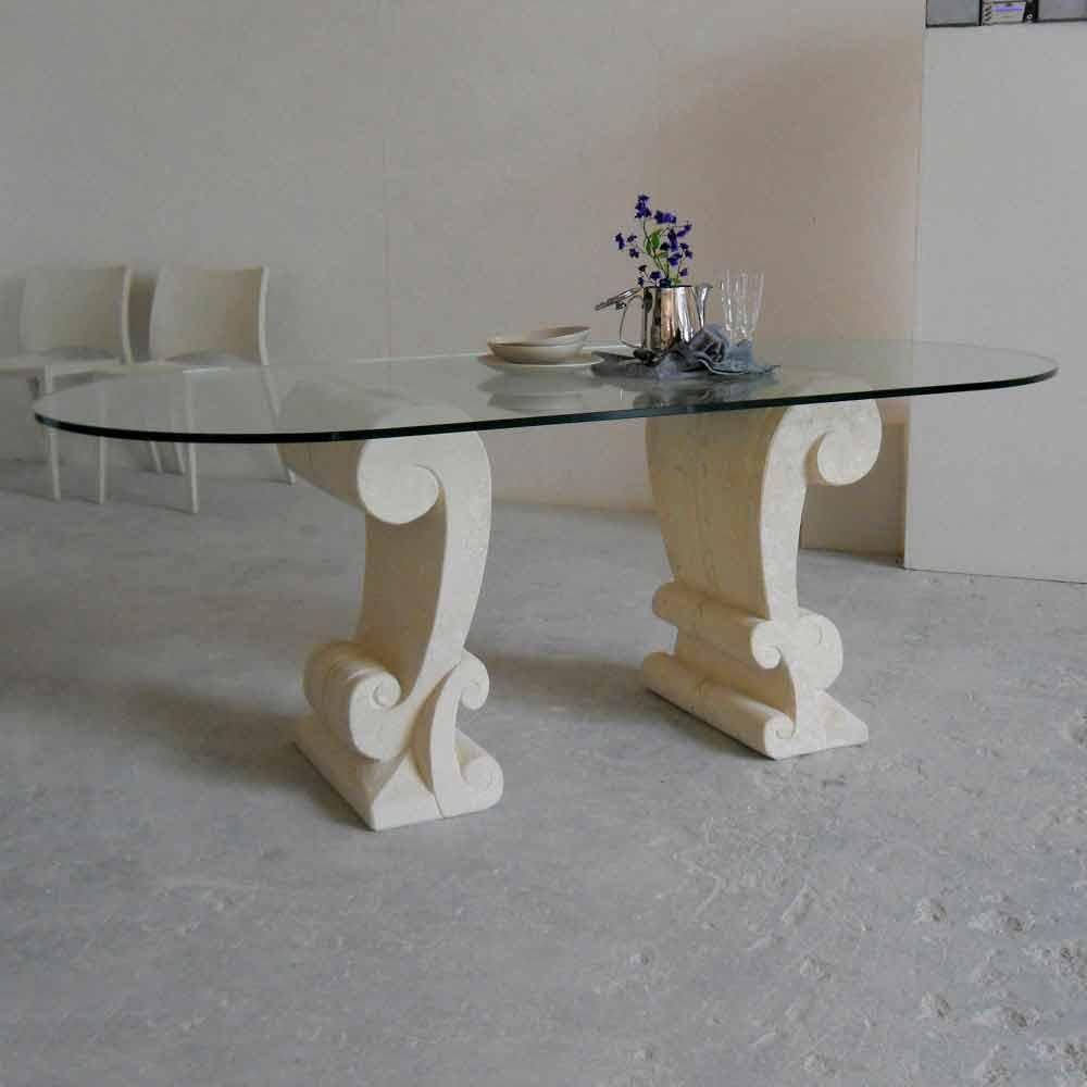 Ovaler esstisch aus stein und kristall im klassischen design aracne - Ovale wandregale ...