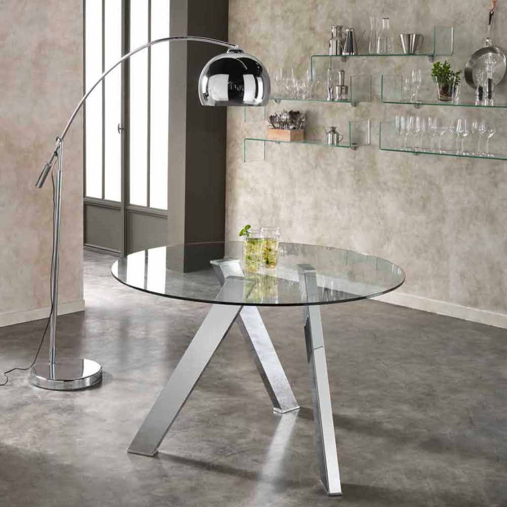 runder esstisch aus glas in modernem design adamo. Black Bedroom Furniture Sets. Home Design Ideas
