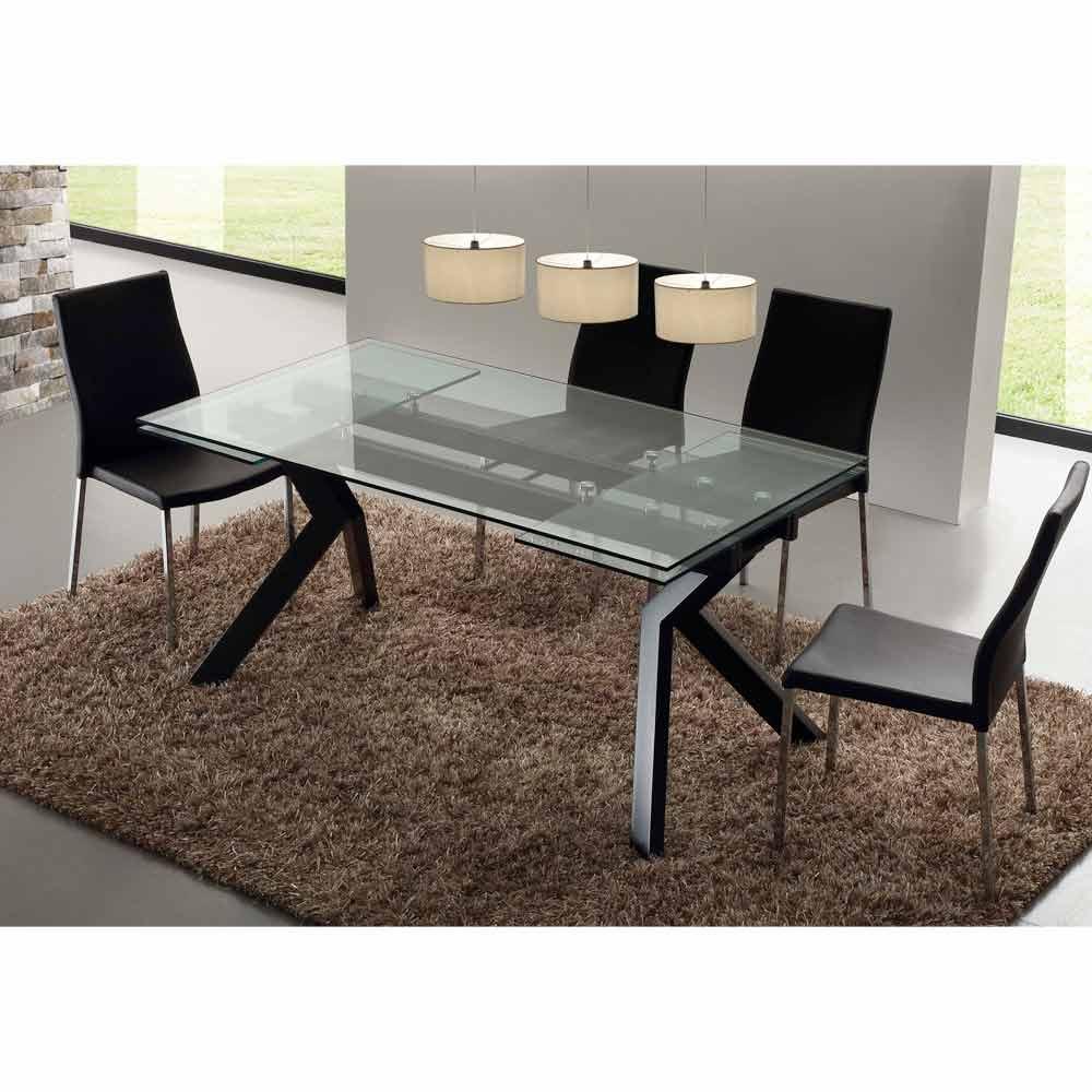 Moderner tisch ausziehbar aus metall und glas mesa for Design tisch ausziehbar