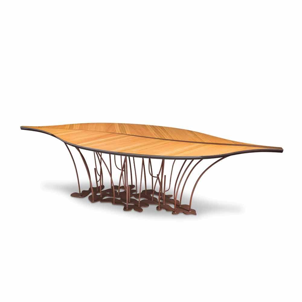 Design tisch aus furnierholz eiche und nuss fenice for Tisch design eiche