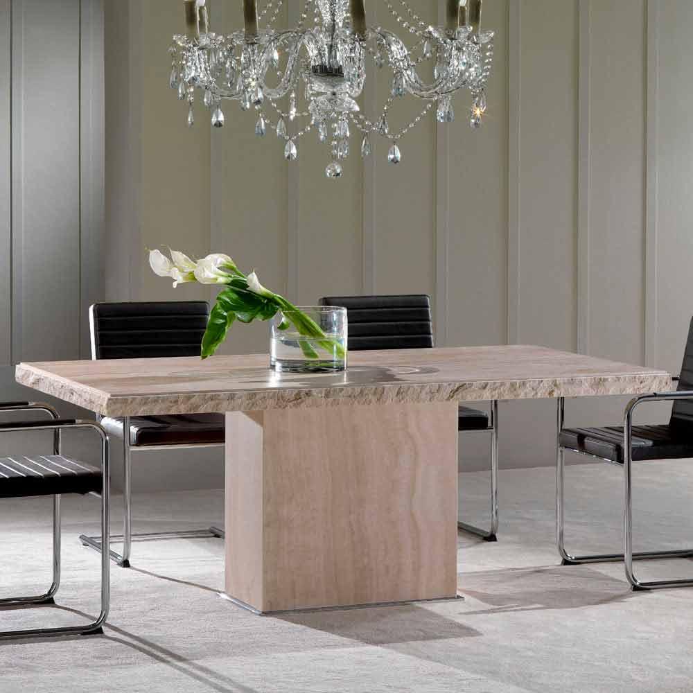 fester tisch aus travertinstein mit borte aus stein narciso. Black Bedroom Furniture Sets. Home Design Ideas