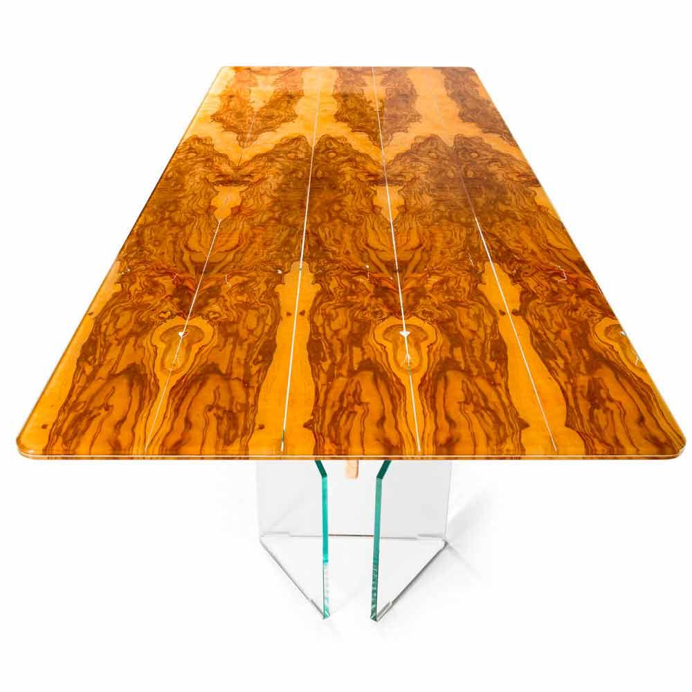 Esstisch Olivenholz rechteckiger tisch aus olivenbaumholz und glas portofino