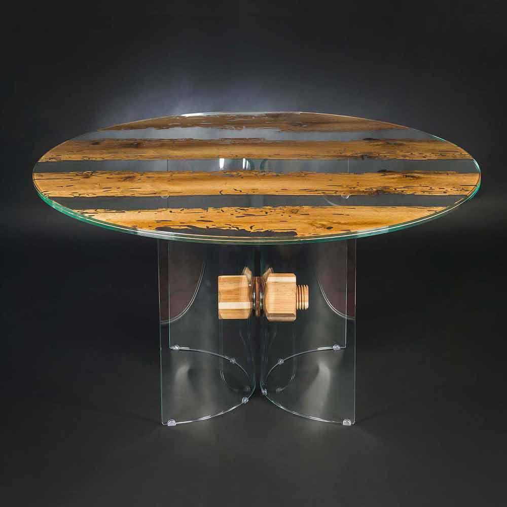 runder tisch aus briccola holz und glas venezia. Black Bedroom Furniture Sets. Home Design Ideas
