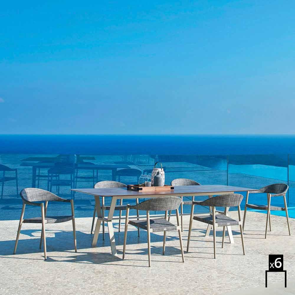 Varaschin Clever Set 6 Gartenstühle modernes Design