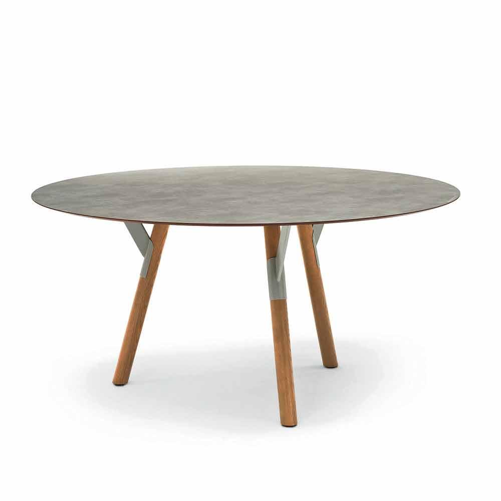 Varaschin Esstisch rund Teak Tischbeine H 65 cm