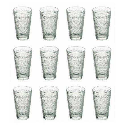 12 Getränkegläser aus dekoriertem transparentem Glas für Getränke - Marokkobisch