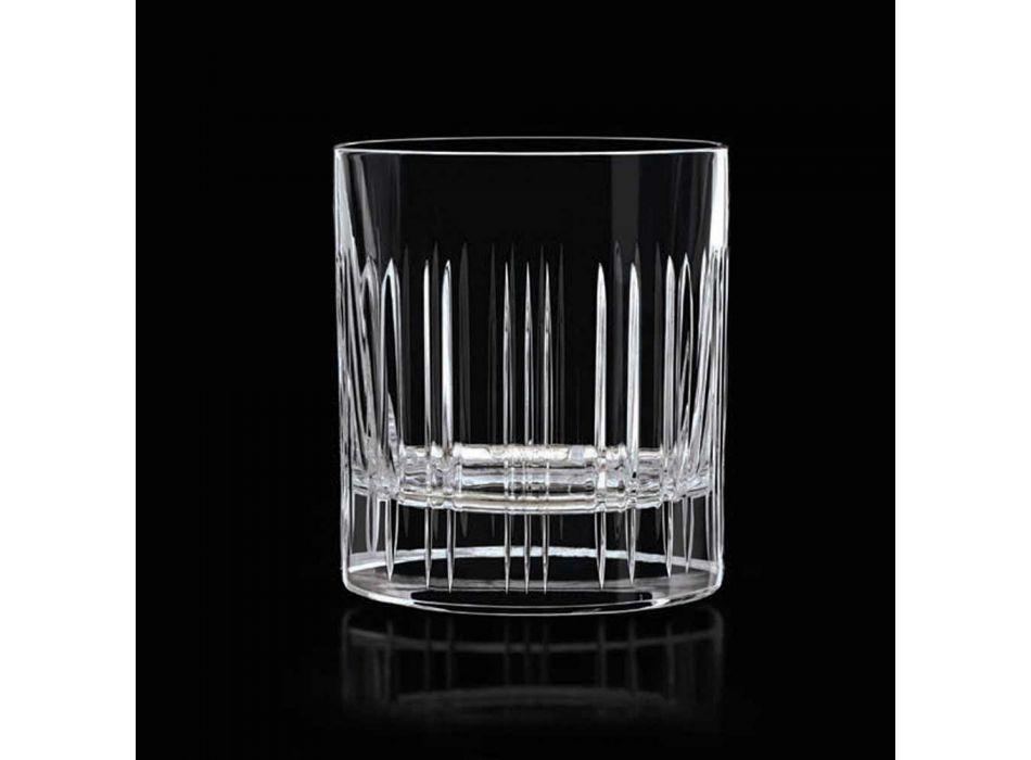 12 Whisky- oder Kristallwassergläser mit luxuriöser linearer Dekoration - Arrhythmie