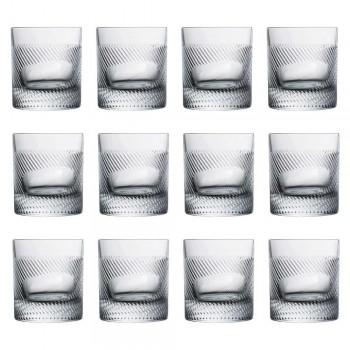12 Whisky- oder Wassergläser im Vintage-Design mit Öko-Kristalldekoration - taktil