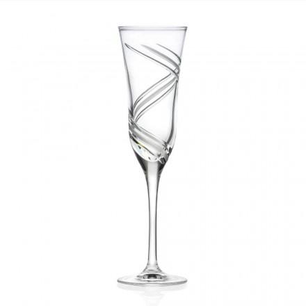 12 Champagnerflötengläser aus verziertem ökologischem Kristall Made in Italy - Cyclone