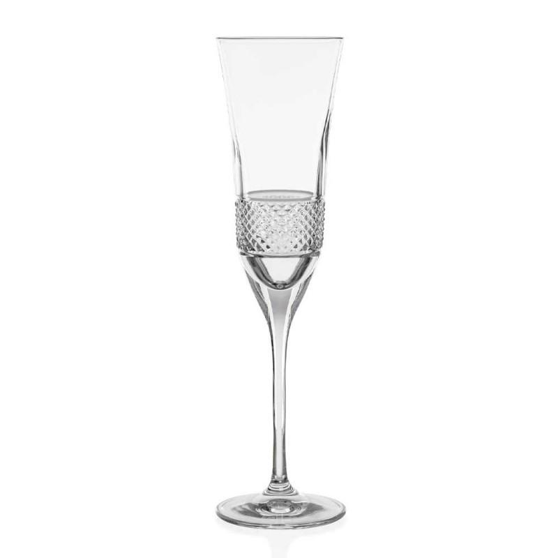 12 Flötengläser für Champagner in ökologischem Kristall mit manueller Dekoration - Milito