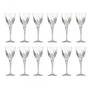 12 Luxus-Design-Weißweingläser in handverziertem Öko-Kristall - Advent