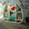 Bücherregal in modernem Design aus Solid Surface® Shelley Made in Italy