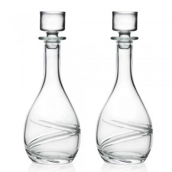 2 Weinflaschen und luxuriöser handdekorierter Öko-Kristalldeckel - Zyklon