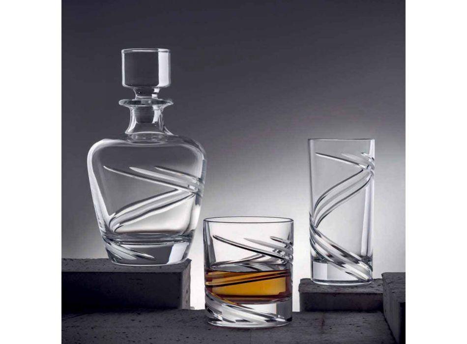 2 Whiskyflaschen aus italienischem handwerklichem ökologischem Kristall - Zyklon
