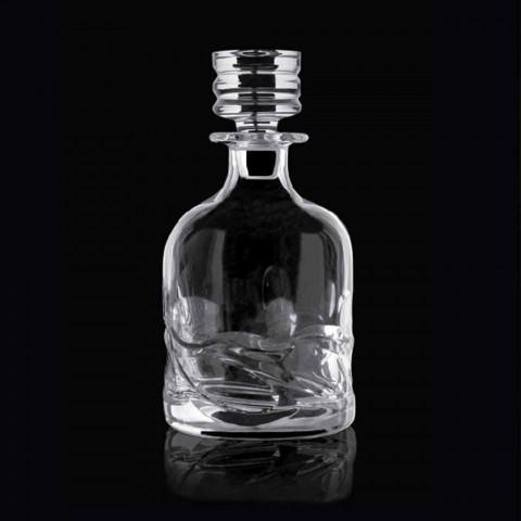 2 Öko-verzierte Kristall-Whiskyflaschen und luxuriöse Designkappe - Titan