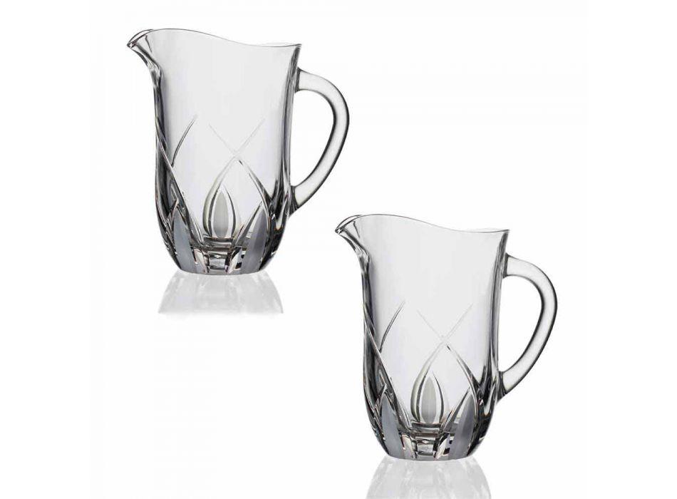 2 ökologische Kristallwasserkrüge Luxus handdekoriertes Design - Montecristo