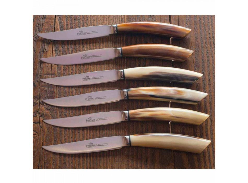2 Steakmesser mit Griff aus Ochsenhorn oder Holz Made in Italy - Marino