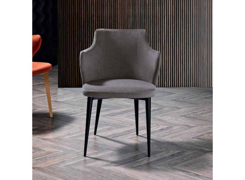 2 elegante Wohnzimmer Sessel Farbiger Stoff und Black Metal - Herzogin