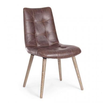2 moderne Stühle im Industriestil mit Kunstleder Homemotion - Riella