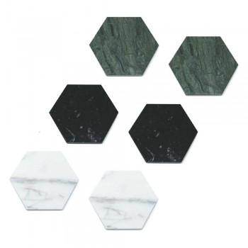 2 sechseckige Untersetzer aus weißem, schwarzem oder grünem Marmor Made in Italy - Paulo