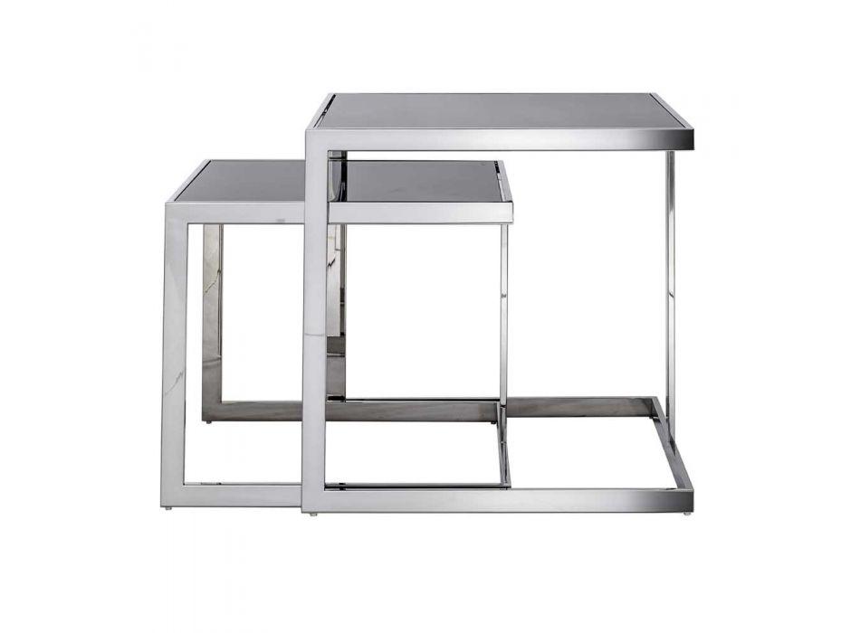 2 moderne Design Couchtische aus Stahl mit Bubbi Glasplatte