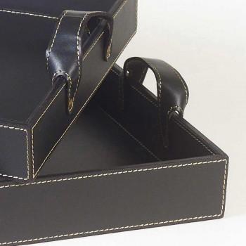 2 Design-Tabletts aus schwarzem Leder 41x28x5cm und 45x32x6cm Anastasia