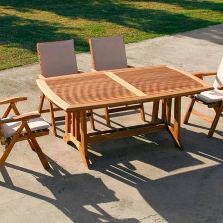 Verlängerbarer Gartentisch in Teak Amalfi