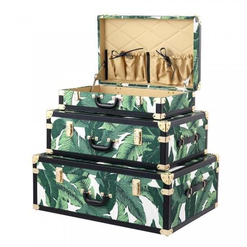3 Design-Trunks aus Mdf und Stoff mit Details aus schwarzem Ledereffekt - Amazonien