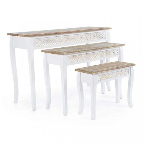 3 Designkonsole im klassischen Stil aus Tannenbambus, Bambus und Mdf - Camalow