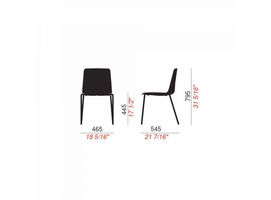 4 stapelbare Außenstühle aus Metall und Polypropylen Made in Italy - Carita