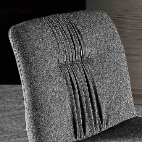 4 Wohnzimmerstühle gepolstert in Stoff- und Eschenbeinen Design - Florinda
