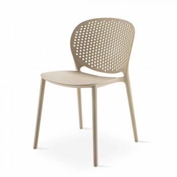 4 moderne Design farbige stapelbare Stühle aus Polypropylen - Pocahontas
