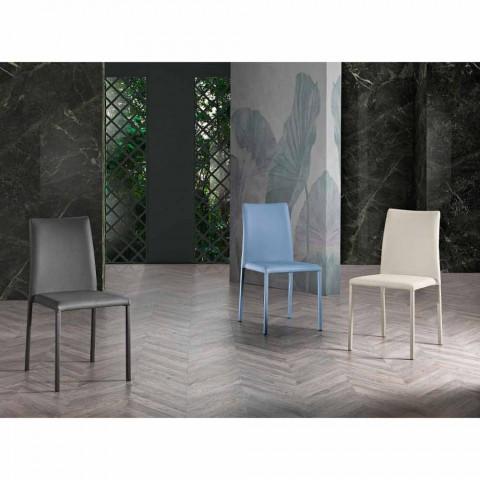 4 elegante moderne Designstühle aus farbigem Ecoleather für Wohnzimmer - Grenger