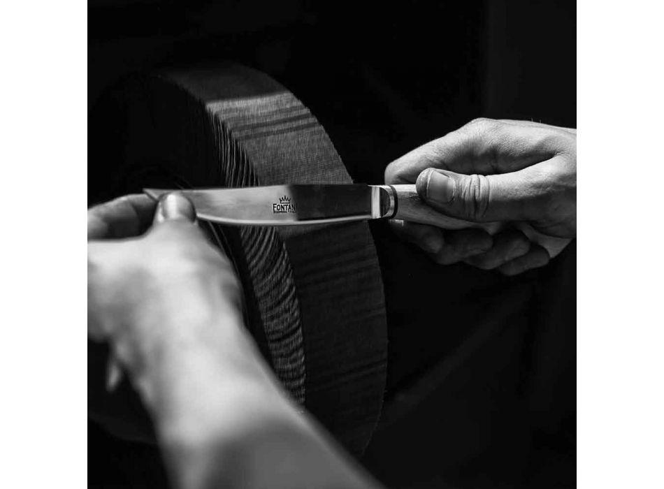 6 handwerkliche Küchenmesser mit Ochsenhorngriff Made in Italy - Marino
