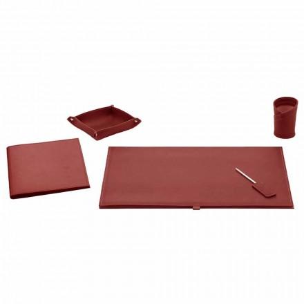 Bürozubehör für Schreibtisch aus gebundenem Leder, 5 Stück - Aristoteles