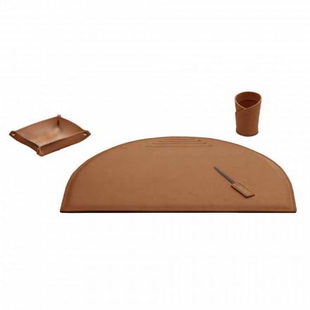 Bürozubehör für Schreibtisch aus regeneriertem Leder, hergestellt in Italien - Medea